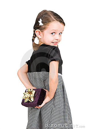 Free Little Girl Hiding Gift Royalty Free Stock Photos - 3065428