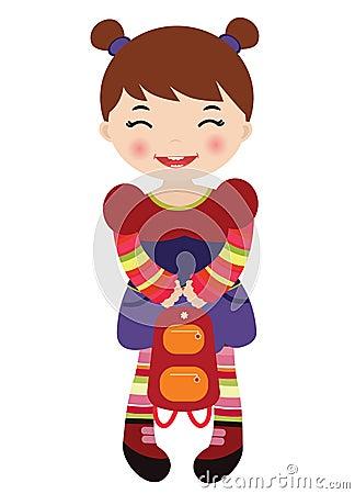 Little girl holding a backpack