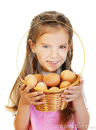 Little girl holding basket of raw