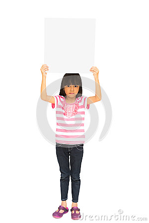 Little girl holding a board