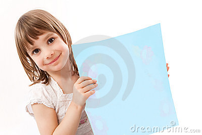 Little girl holding card for text
