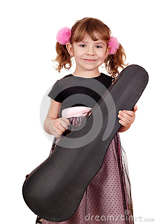 Little girl holding case