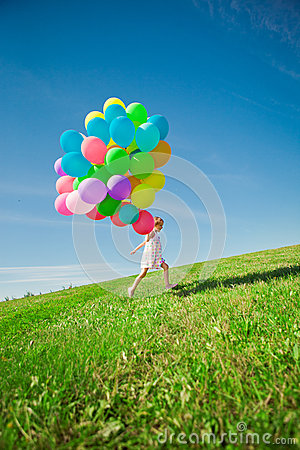 Free Little Girl Holding Colorful Balloons. Child Playing On A Green Stock Photos - 39579563