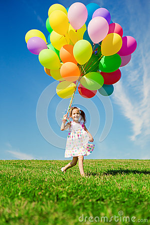 Free Little Girl Holding Colorful Balloons. Child Playing On A Green Royalty Free Stock Photography - 39594247