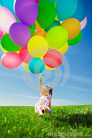 Free Little Girl Holding Colorful Balloons. Child Playing On A Green Stock Photos - 39622233