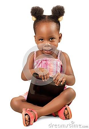 Little  girl holding a digital tablet