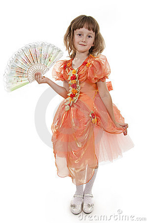 Little Girl holding Folding Fan.