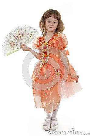 Little Girl holding Folding Fan.