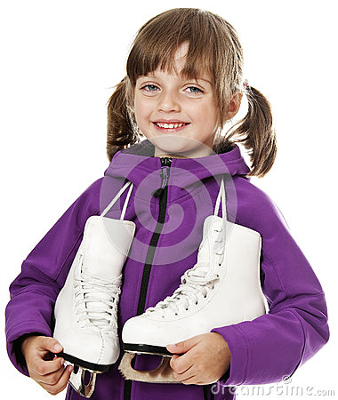 Little girl holding an ice skates