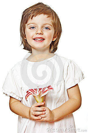 Little girl holding lilly flower