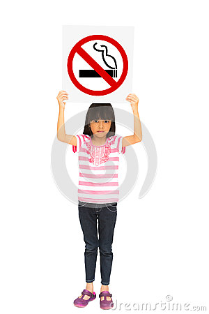 Little girl holding a no smoking sign