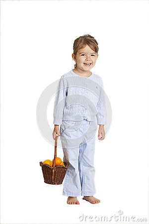 Little girl holding oranges, clipping path