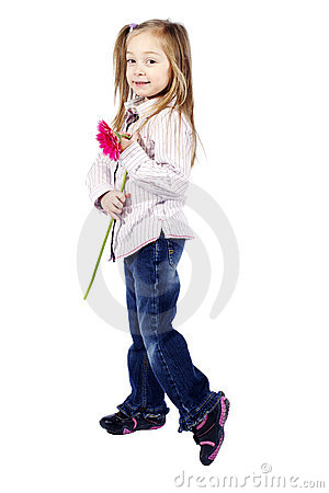 Little girl holding pink flower