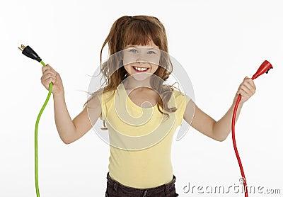 Little Girl Holding Power Cords