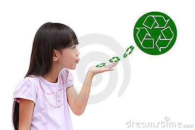 Little girl holding recycle symbol