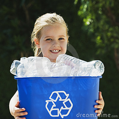 Free Little Girl Holding Recycling Bin Royalty Free Stock Image - 6950646