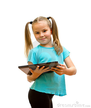 Little girl holding Tablet PC.