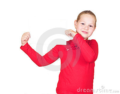 Little Girl Holding A White Sheet Of Paper Stock Images - Image: 20727724