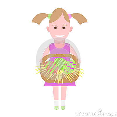 Little girl holds a basket with Easter eggs