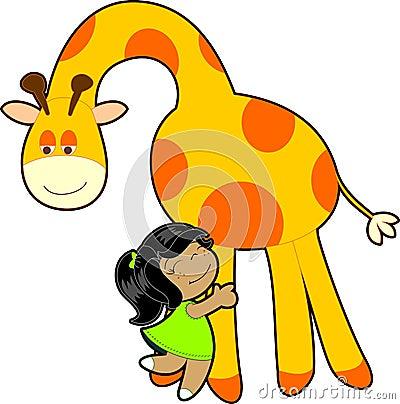 Little girl hug giraffe