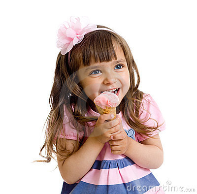 Little girl with ice cream in studio isolated