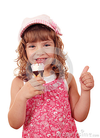 Little girl with ice cream and thumb up