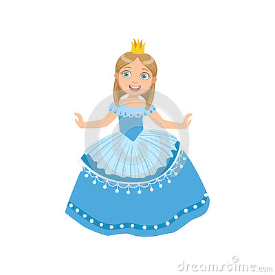 Free Little Girl In Blue Dress Dressed As Fairy Tale Princess Stock Photo - 80188120