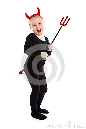 Free Little Girl In Devil Costume. Stock Images - 28599924