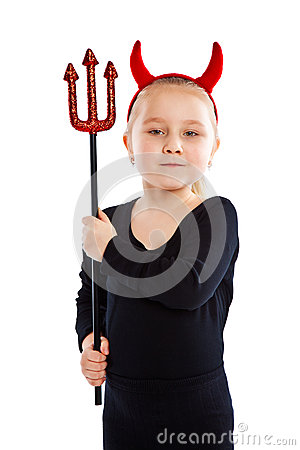 Free Little Girl In Devil Costume. Royalty Free Stock Photos - 28618638