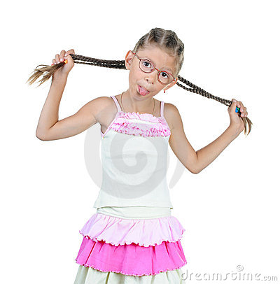 Free Little Girl In Glass Shows Tongue Stock Photos - 15540453