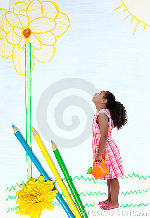 Free Little Girl In Pencil Drawn Garden Royalty Free Stock Images - 14138389