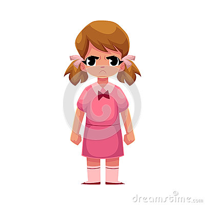 Free Little Girl In Pink Dress Standing With Frowned, Angry Face Royalty Free Stock Photo - 92525445