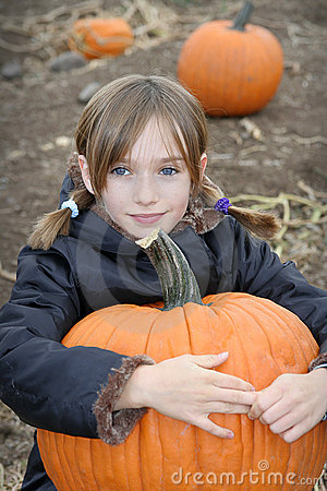 Free Little Girl In Pumpkin Patch Royalty Free Stock Image - 1160716