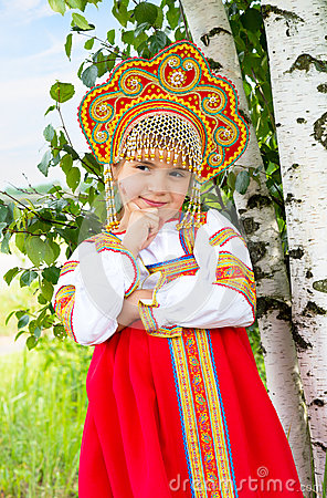 Free Little Girl In Russian National A Sundress Royalty Free Stock Photography - 56932137