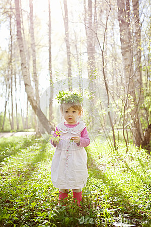 Free Little Girl In The Forest Royalty Free Stock Photo - 24622545
