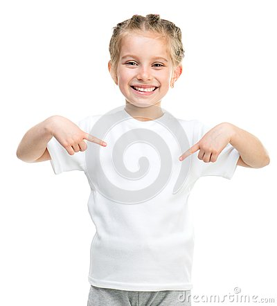 Free Little Girl In White T-shirt Royalty Free Stock Photos - 31221978