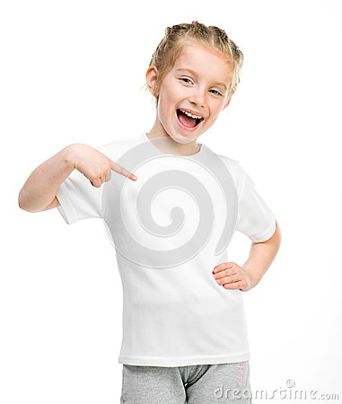 Free Little Girl In White T-shirt Stock Photo - 31221980