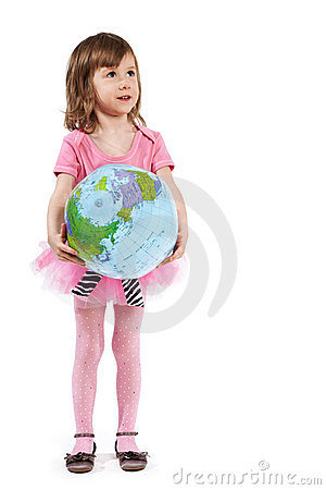 Little girl with inflatable ball-globe. Stock Photo