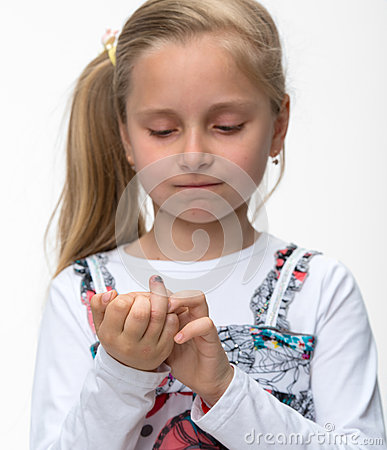 Little girl with a injured finger