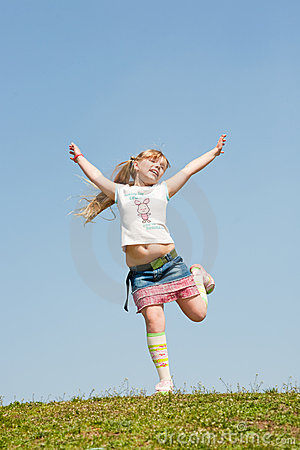 Free Little Girl Jumping Against Beautiful Sky Royalty Free Stock Photos - 9875358