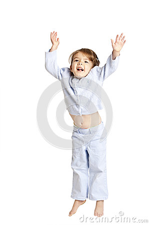 Little girl jumping, clipping path
