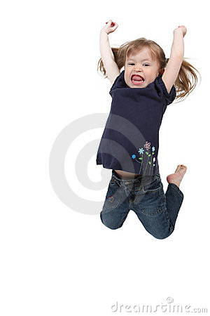 Little girl jumping on isolated