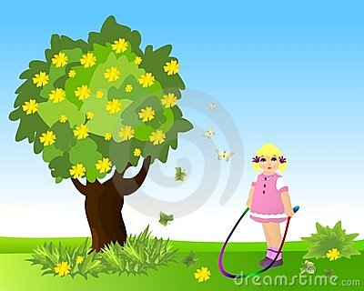 Little girl with jumping rope, cdr vector