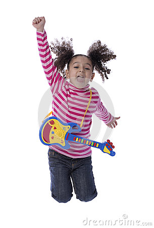 Little Girl Jumping with Toy Guitar