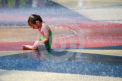 Little girl keeping cool Editorial Image