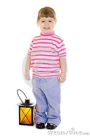 Little girl with lantern