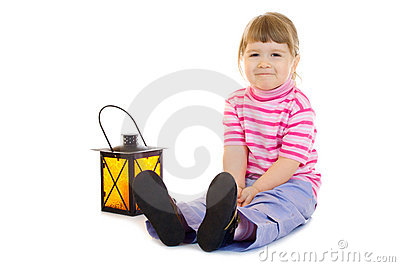 Little girl with lantern