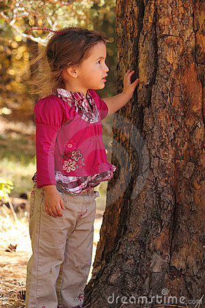 Little Girl Leaning Against Tree