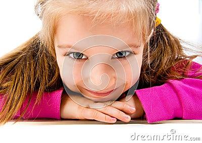 Little girl lie on the floor