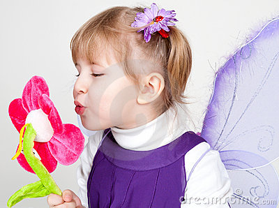 Little girl likes violet butterfly